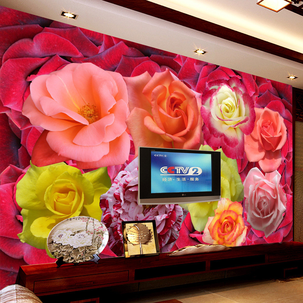 Custom Wall Mural Wallpaper Rose Flower Bedroom TV Background Home Decor Wall Painting Living Room Wallpaper Papel De Parede 3D  цены