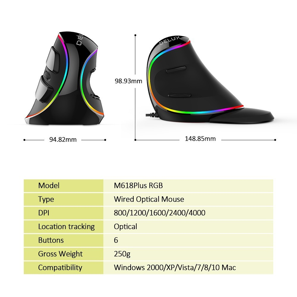 Delux M618Plus RGB Ergonomic Vertical Mouse 6 Buttons 4000 DPI Optical Computer Mouse With Removable Palm Rest For PC Laptop