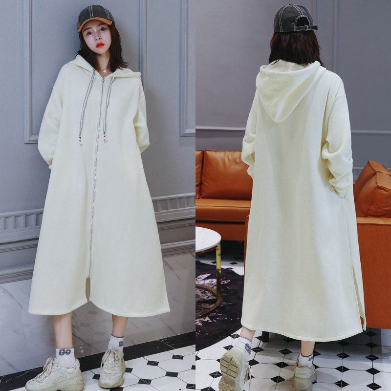 цены Maternity hooded sweater thickening plus velvet winter long knee over white pregnant women sweater coat