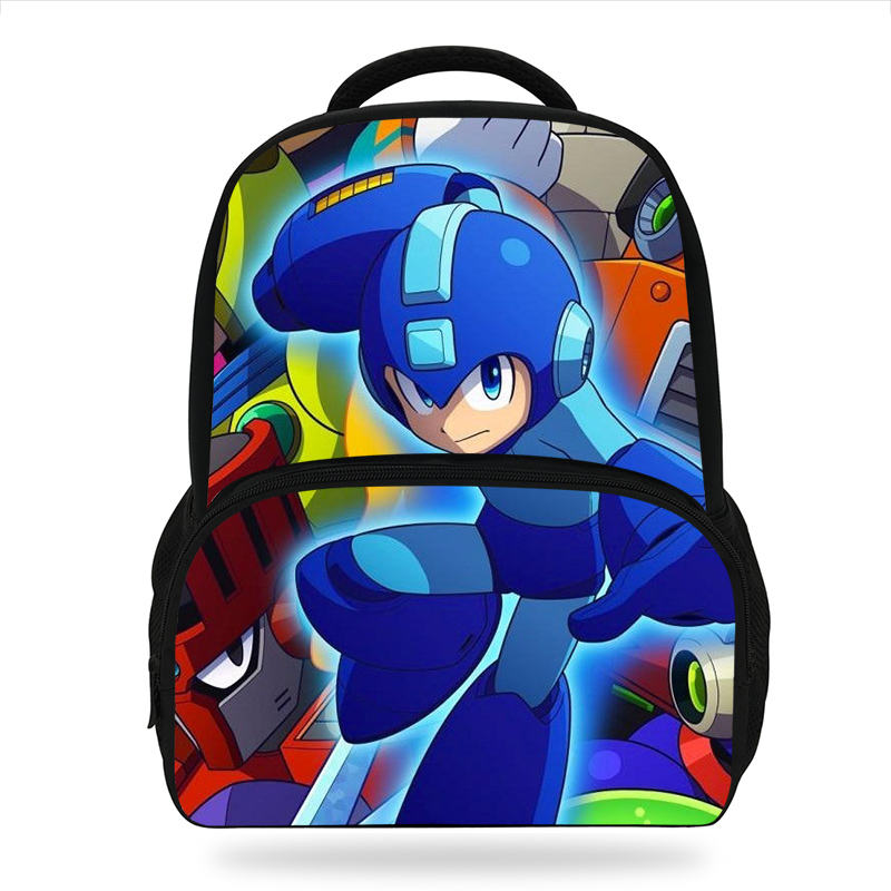 14inch Anime Mega Man Proto Man Printing Backpack For Teenage Boys Kindergarten Backpacks Kids School Bags Bookbag