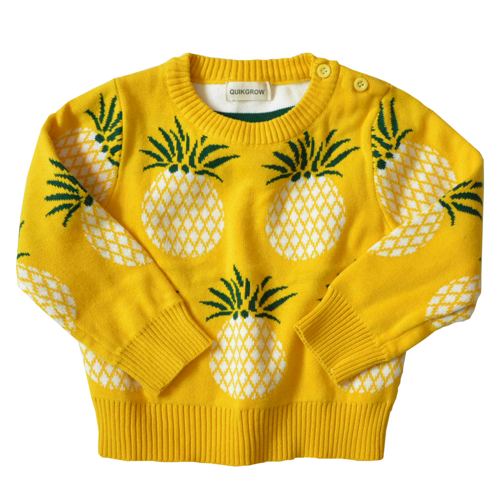 QUIKGROW Soft Cotton Pineapple Fruit Graphic Infant Baby Girl Boy Sweater Long Sleeve Yellow Pullover Jumpers YM24MY