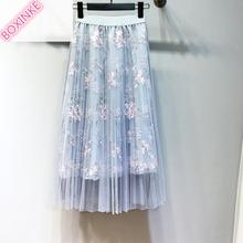 2019 Top Real Polyester Skirts Womens Summer Embroidered Half-length Skirt, Long Screen Pleated Skirt In Ladys Style