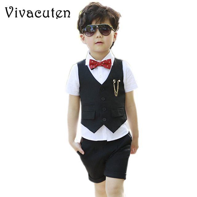 3eca24c828f4c US $14.98 28% OFF|Kids Summer Fashion Formal Clothing Set for Boys Dress  Wedding Vest Pants Suit New Gentle Boys Suit Set Children Prom Suits  F147-in ...