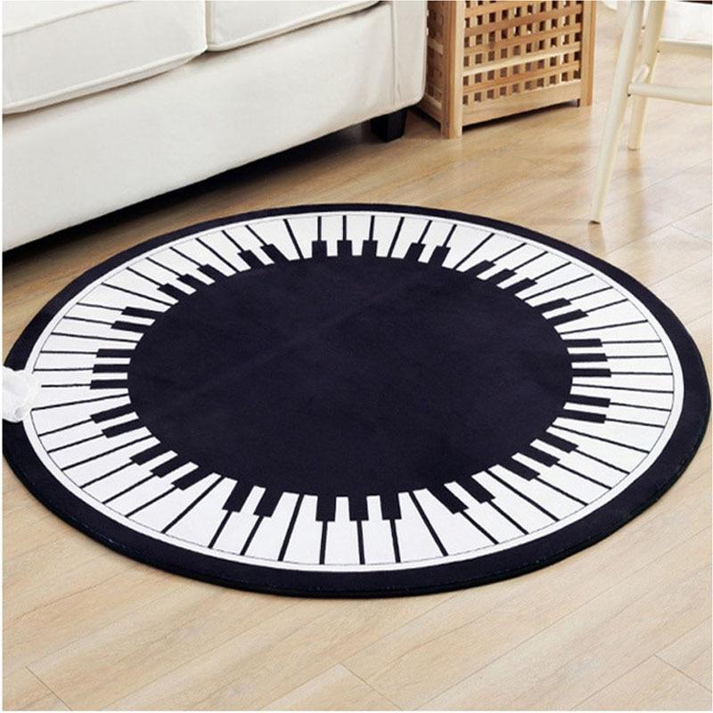 WLIARLEO tapis clavier Piano tapis rond antidérapant pour chambre salon enfants tapis d'apprentissage tapis d'ordinateur chaise tapis 80x80 cm