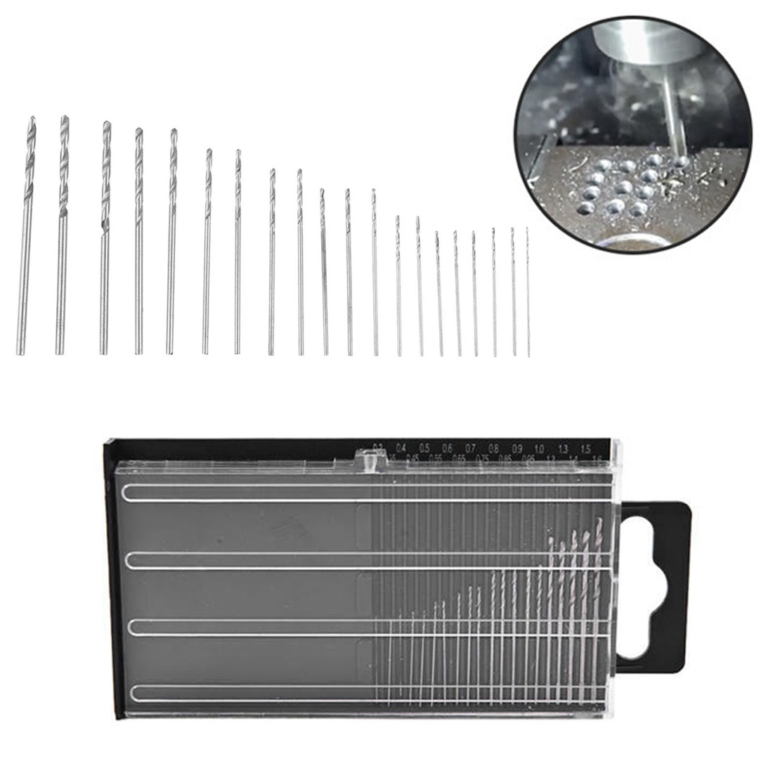 20Pcs 3mm-1.6mm Model Craft With Case Repair Parts Repair Tools Mini Drill Bit High Speed Steel Micro Twist Drill Bit Set 0.