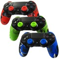 Camouflage Soft Silicone Rubber Case Thicker Skin Protective Cover for PS4 Controller (Camou skin X 1 + Thumb Grip X 2)