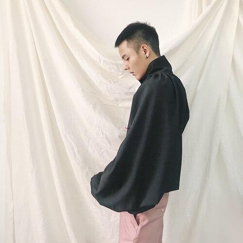 Manches Chanteur Plissée Taille Hommes Costumes Personnalité 5xl S Mode Cheveux Styliste Manteau Bat Plus 2018 Conception Vêtements Noir De TFw7Ax