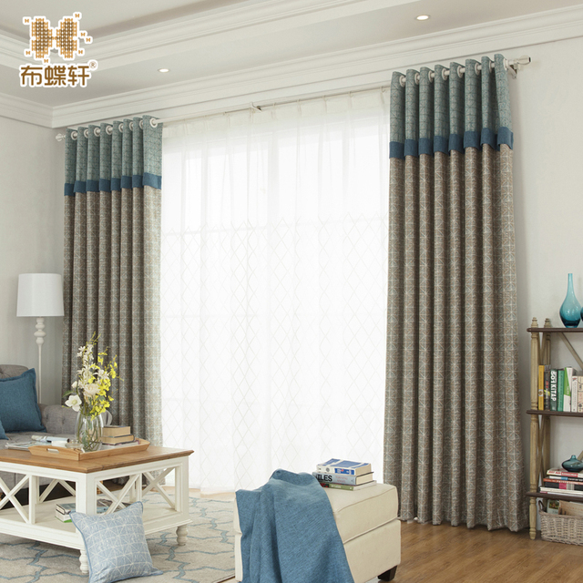 One Panel New Arrival Luxury Beautiful Blinds Curtain D Blue Sching Blackout 35 Cottton Curtains