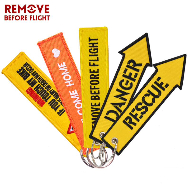 Remove Before Flight Keychain Jewelry Embroidery Danger Key Chain For Aviation Gifts Luggage Tag Fashion Yellow Key Chains