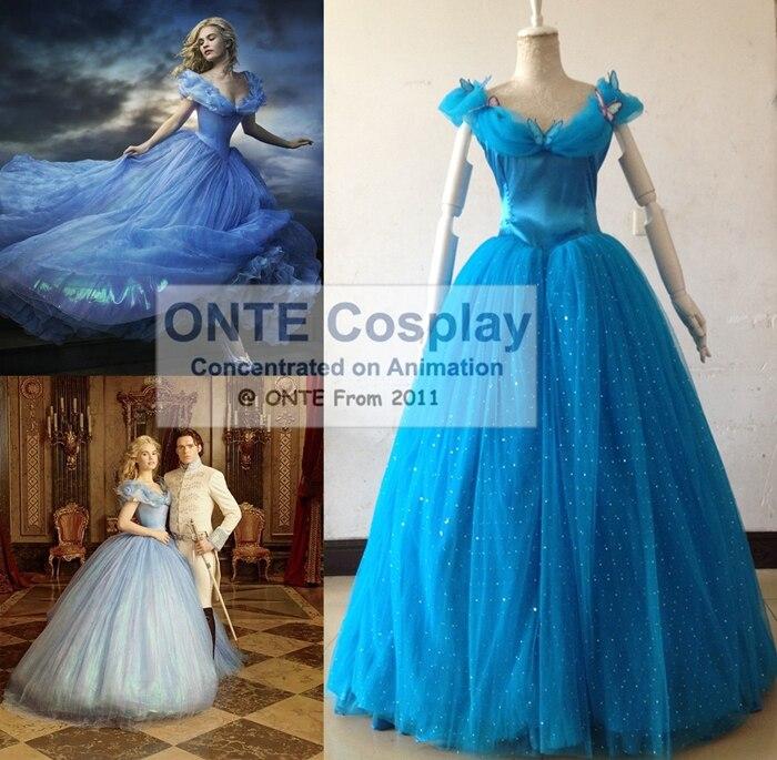[Custom Made] 2015 New Fashion Cartoon Movie Adult / Kids Cosplay Costume Cinderella Gorgeous Princess Dress Dropshipping