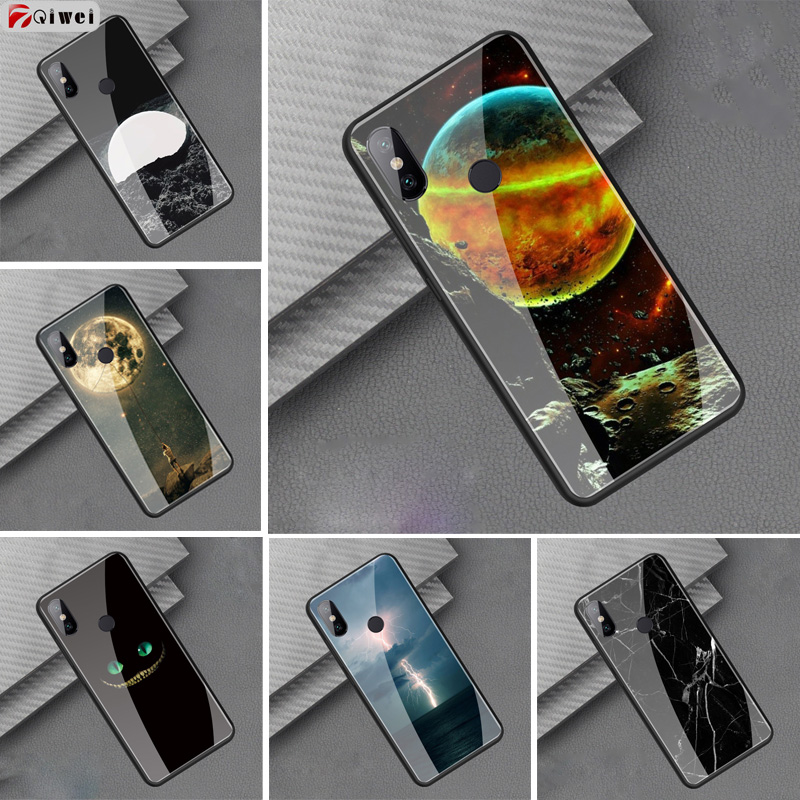 Tempered Glass Painted Case For Coque Xiaomi Redmi S2 Cover Hard Back Case Bumper For Xiaomi redmi S2 Case Soft TPU Moon Capas