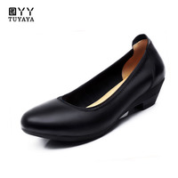 Autumn New Slip on Shoes for Women Black Women's Genuine Leather Work Shoes Mother Comfortable Wedding Shoes