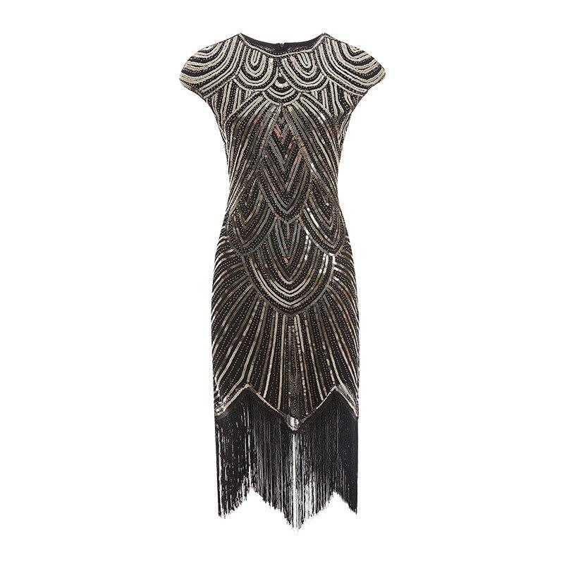 Summer dresses casual Women 1920s Sequined Embellished Fringed Great Gatsby Dress Retro Tassel Midi Party Ukraine Vestido XS-XXL