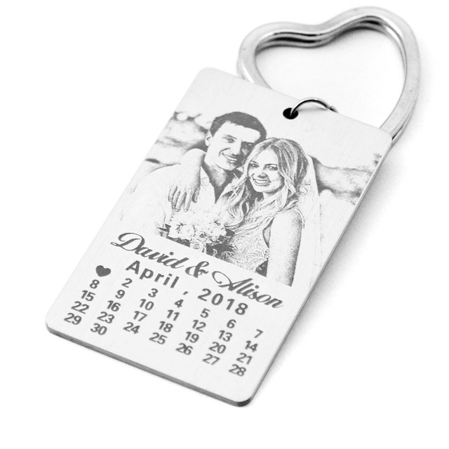 Personalized Calendar Keychain Engraved Photo First Date Calendar Love Pendant