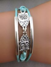 1pcs bracelet,owl mint infinity rope, owls, tube ,aqua bracelet,1297 Mini order 10$(China)