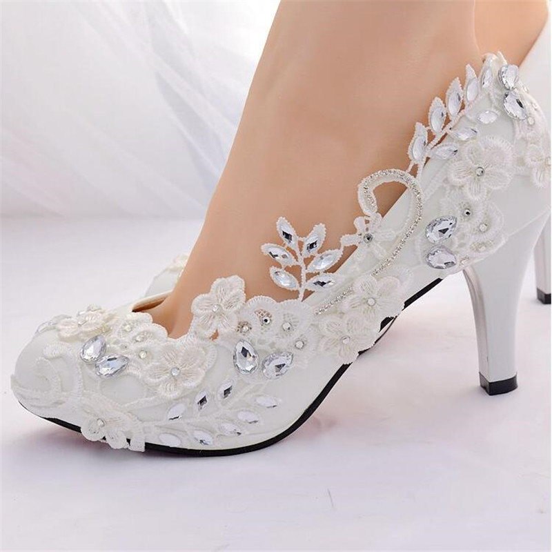 Crystal White Wedding Shoes Bride Female High Heels Shoes woman 2019 diamond princess Ball party shoes shoes zapatos tacon mujerCrystal White Wedding Shoes Bride Female High Heels Shoes woman 2019 diamond princess Ball party shoes shoes zapatos tacon mujer