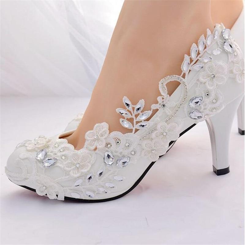 Zapatos de boda blancos de cristal para novia zapatos de tacón alto para mujer 2019 zapatos de fiesta de princesa de diamante zapatos de mujer