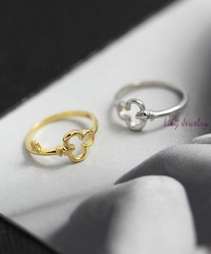 Lily jewelry design fashion 18KGP gold color shape key finger ring
