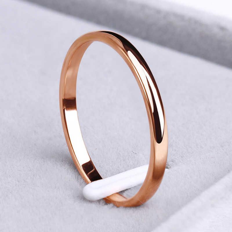 CACANA Edelstahl Ringe Rose Gold Anti-allergie Glatte Einfache, personalisierte Hochzeit Paare Ringe Bijouterie
