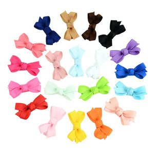 MIXIU 20pcs/set 2 Inch Mini Solid Hair Clip Bow Fully Wrapped Safety Hairpin Boutique Barrettes Kids Lovely Hair Accessories(China)