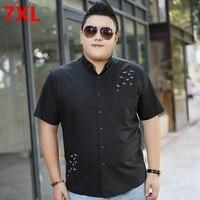 Мужская плюс размер clothing черный с коротким рукавом рубашки мужчины плюс размер повседневная летняя рубашка жира Большой черный короткие ру...