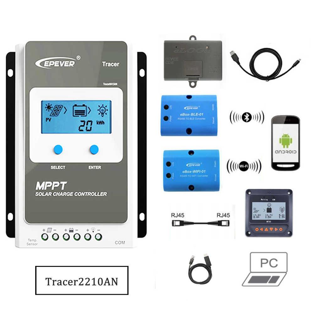 MPPT שמש תשלום בקר eBox-WIFI-01 eBox-BLE-01 Bluetooth eLog01 RTS300R47K3.81A מחשב Tracer2210AN 20A 2210AN 2210A MT50