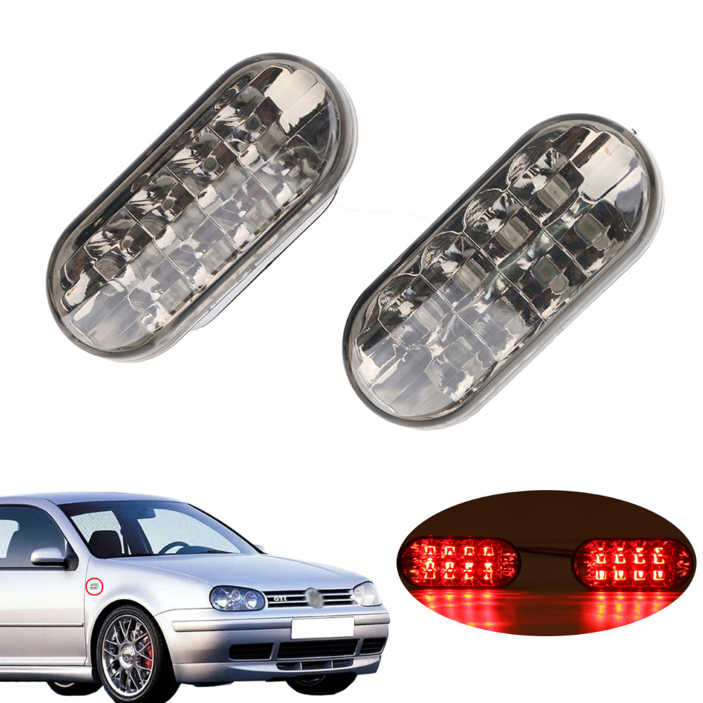 2x Clear Lens Red Light Side Marker Lights LED Turn Signal Lamp For VW Jetta Golf 4 GOLF4 Mk4 Passat B5 GTI TDI R32 .#PDK657-R clear front bumper side marker light for vw volkswagen jetta bora mk4