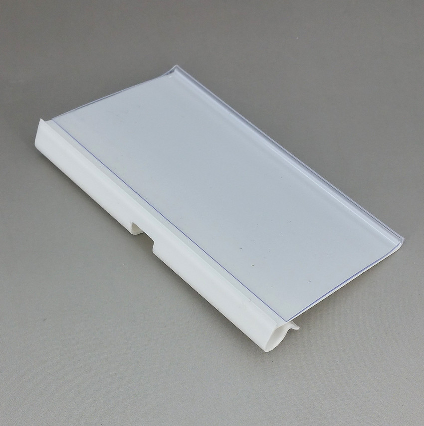 PVC Plastic Price Tag Sign Label Display Holders Clips Thickening Type For Supermarket Shelf Hook Rack In White or Clear 50pcs