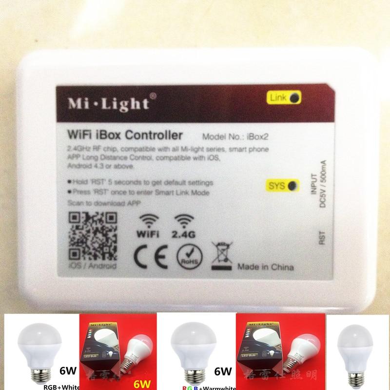 Mi Light iOS Android wifi controller ibox 110V 220V E27 6W RGBW (RGB+ cold white ) 2.4G Wifi Smart Light LED Bulb Lamp Dimmable 2 4g wifi android ios app remote control led globe light bulb e27 9w rgb
