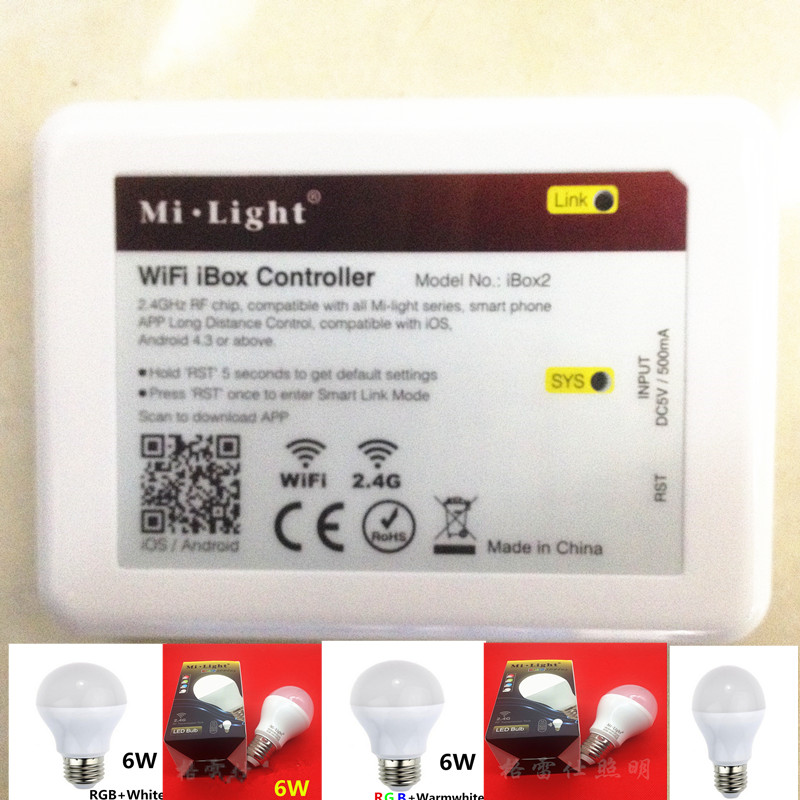 Mi Light iOS Android wifi controller ibox 110V 220V E27 6W RGBW (RGB+ cold white ) 2.4G Wifi Smart Light LED Bulb Lamp Dimmable