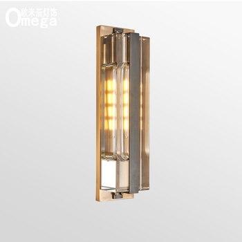 Bakır ışık lüks basit modern kristal duvar lambası arka plan duvar yatak odası sundurma koridor banyo LED ışıkları