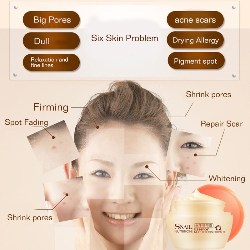 Brand Natural Snail Nutrition Essence Extract Face Cream 50g Moisturizing Whitening Oil Control Acne Treatment 7