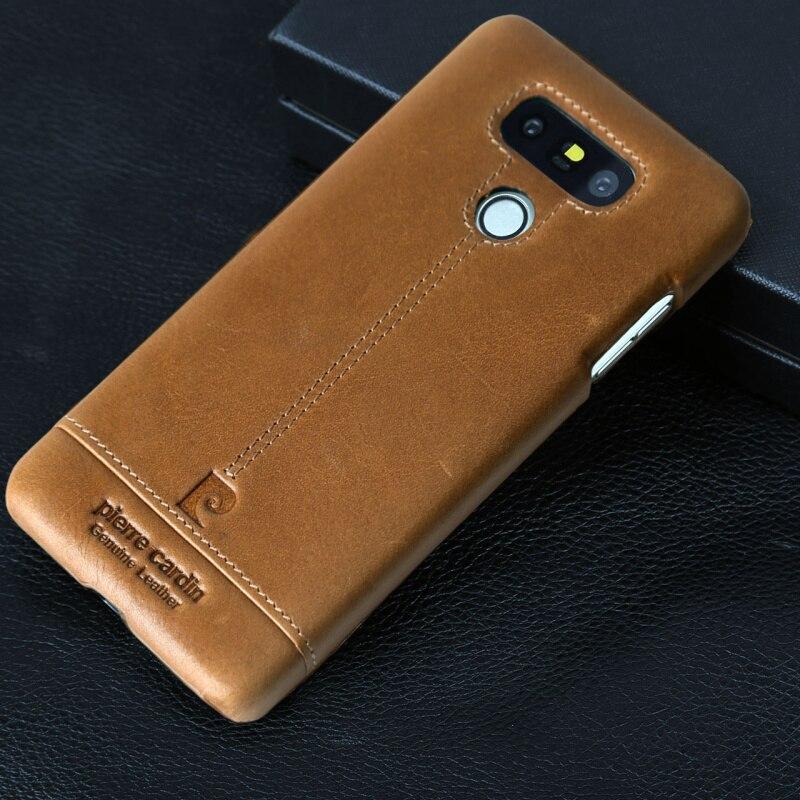 imágenes para Pierre cardin originales para lg g6 case cubierta de lujo de la marca de la vendimia casos de teléfono de bolsas de cuero genuino para lg g6 duro delgado de nuevo cubierta