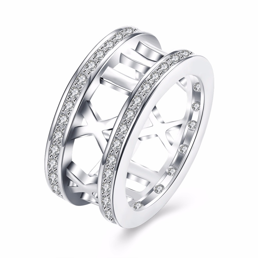 Selling round creative personality silver jewelry hollow Roman ring inlaid zircon silver retro ring