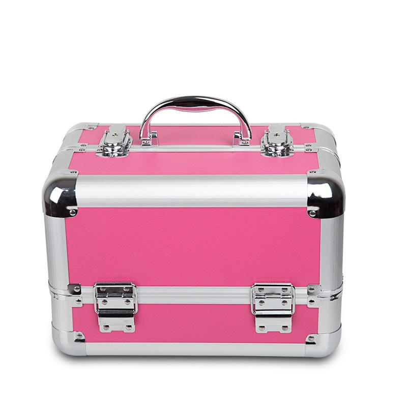 Portable Cosmetic Case PINK Make Up Handbag Organizer Storage Pouch Toiletry Functional Box With Lock Large Capacity ...