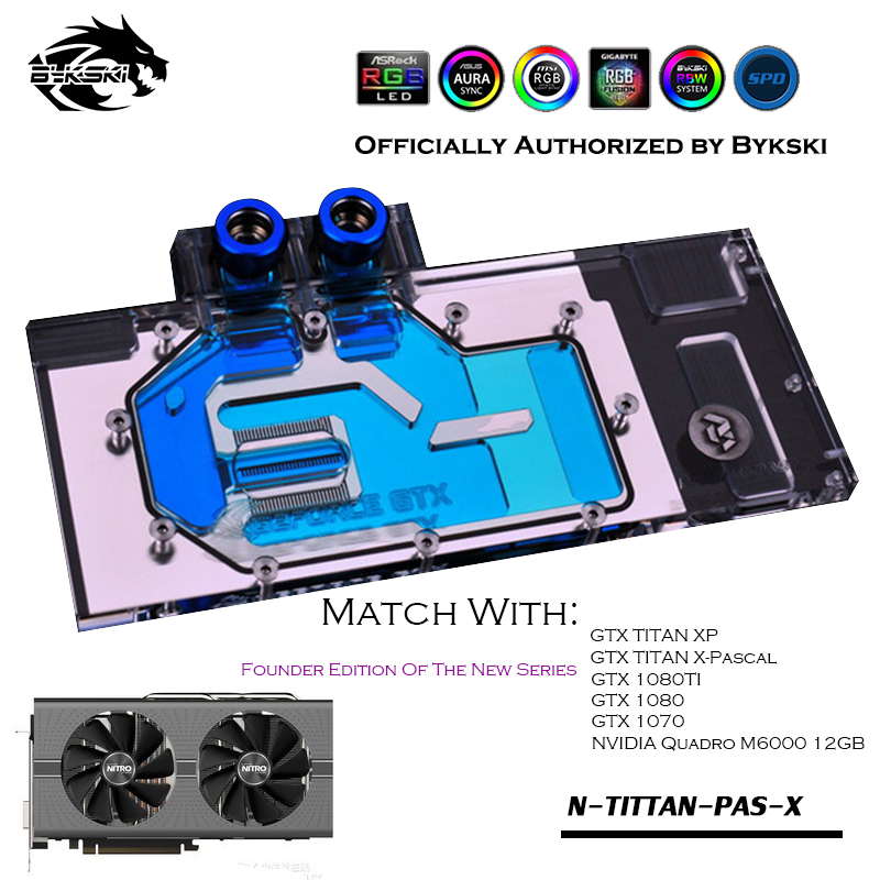 Bykski A-XF48BWPK-X Full Coverage GPU Water Block For VGA XFX <font><b>RX</b></font> 480 <font><b>470</b></font> Black Wolf Evolution <font><b>Graphics</b></font> <font><b>Card</b></font> Cooler Water Cooling image