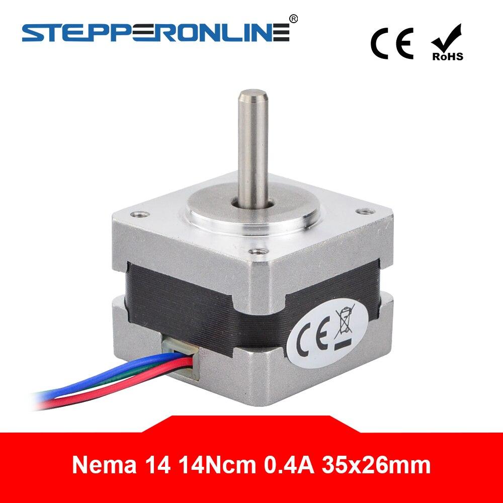 STEPPERONLINE Nema 14 Stepper Motor 1.8 deg 14Ncm 0.4A 4-lead 35x35x26mm for DIY 3D Printer Extruder