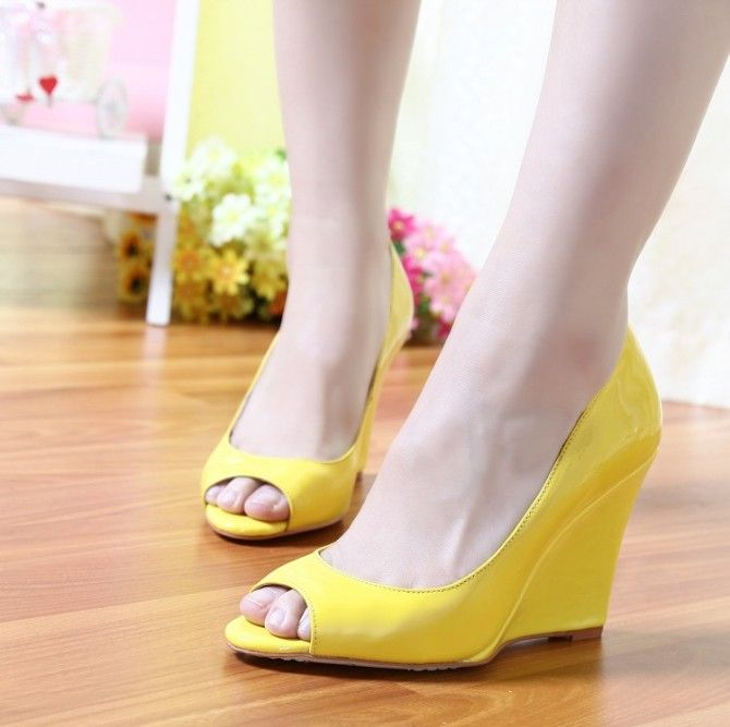 Classic Women s Yellow Wedge Shoes Ultra High Heels Peep Toe Japanned  Leather Sandals Shallow Nude Pumps 3ff52218ef