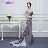 Silver Gray Evening Dresses Long Silk Satin Mermaid Shining Crystals Beaded Cheap Formal Evening Gown Prom