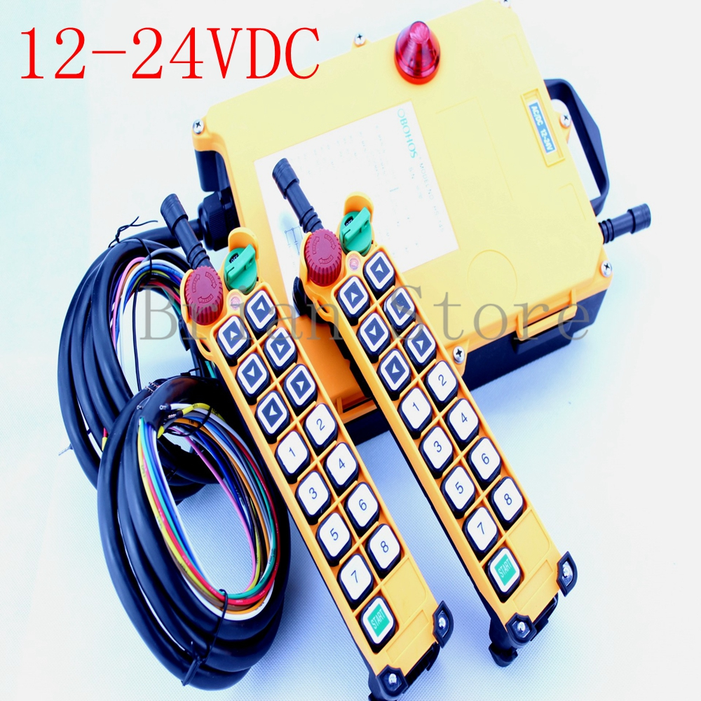 12-24vdc 14 channel 2 Speed 2 Transmitter Hoist Crane Truck Radio Remote Control System Controller With E-Stop цены