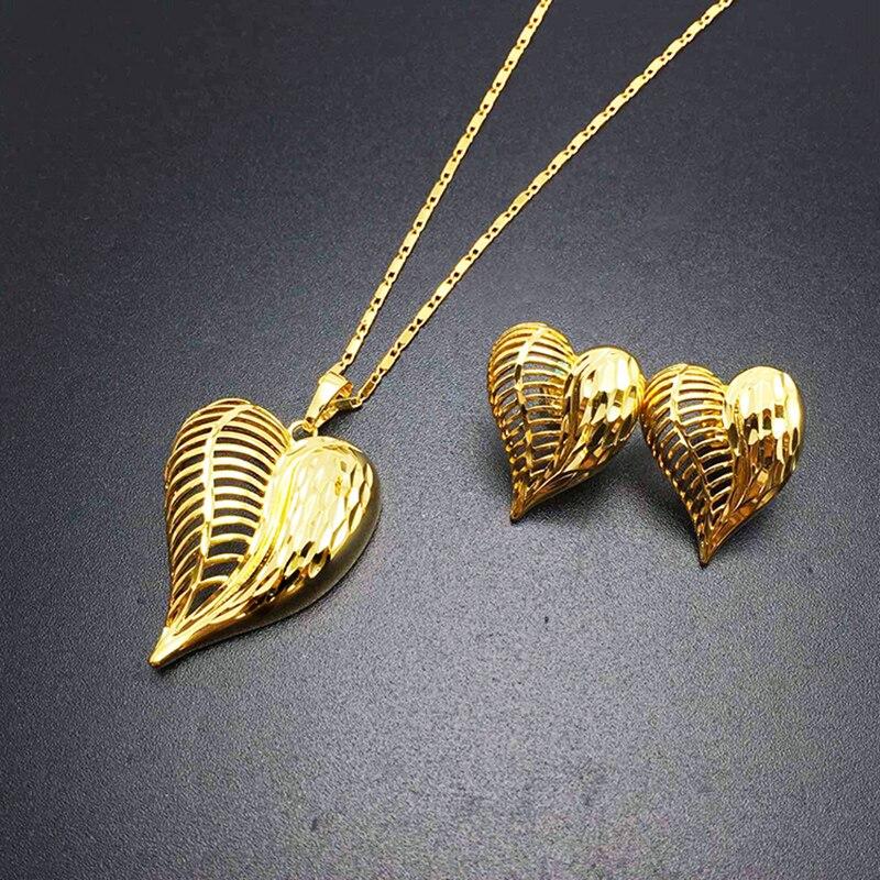 2017 Fashion Real 24K Necklace Pendant Earrings Jewelry Set Women