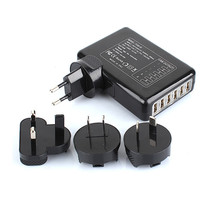 6 Ports USB Travel Wall Charger AC Multi Power Adapter Pack AU/UK/US/EU Plugs Black Free Shipping