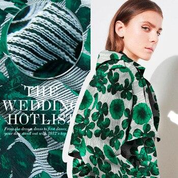 Hilo verde teñido costura moda tela, jacquard blanco, roscado, puntos, coser para la parte superior, abrigo, vestido, trajes, pantalones, artesanía por el patio