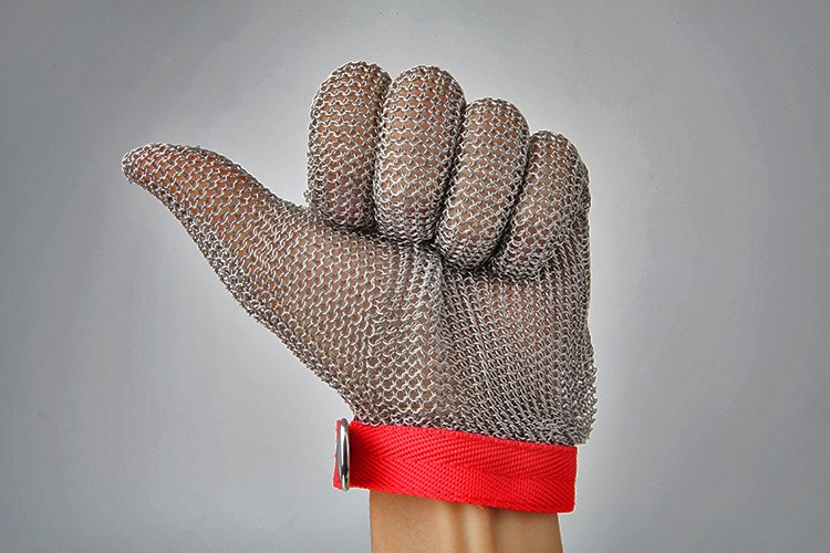 2017 New Inf-way 304L Brushed Stainless Steel Mesh Cut Resistant Chain Mail Gloves Kitchen Butcher Working Safety Glove 1pcs