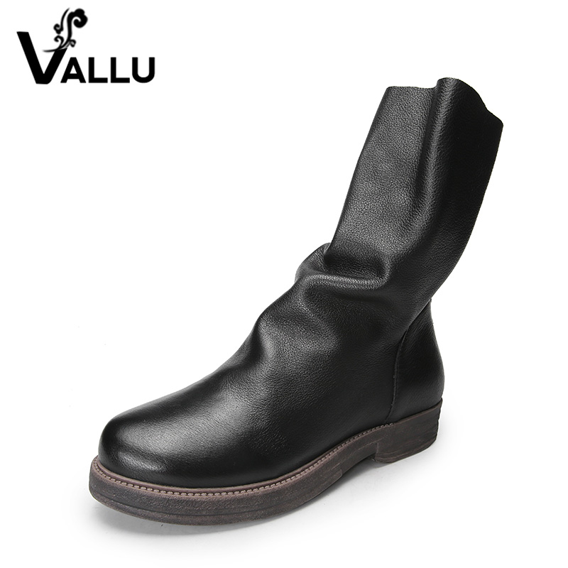 VALLU 2018 Natural Leather Women Boots Mid Calf  Back Zip Square Heel Original Design Handmade Vintage Lady Casual Shoes trendy low heel and double buckle design women s mid calf boots