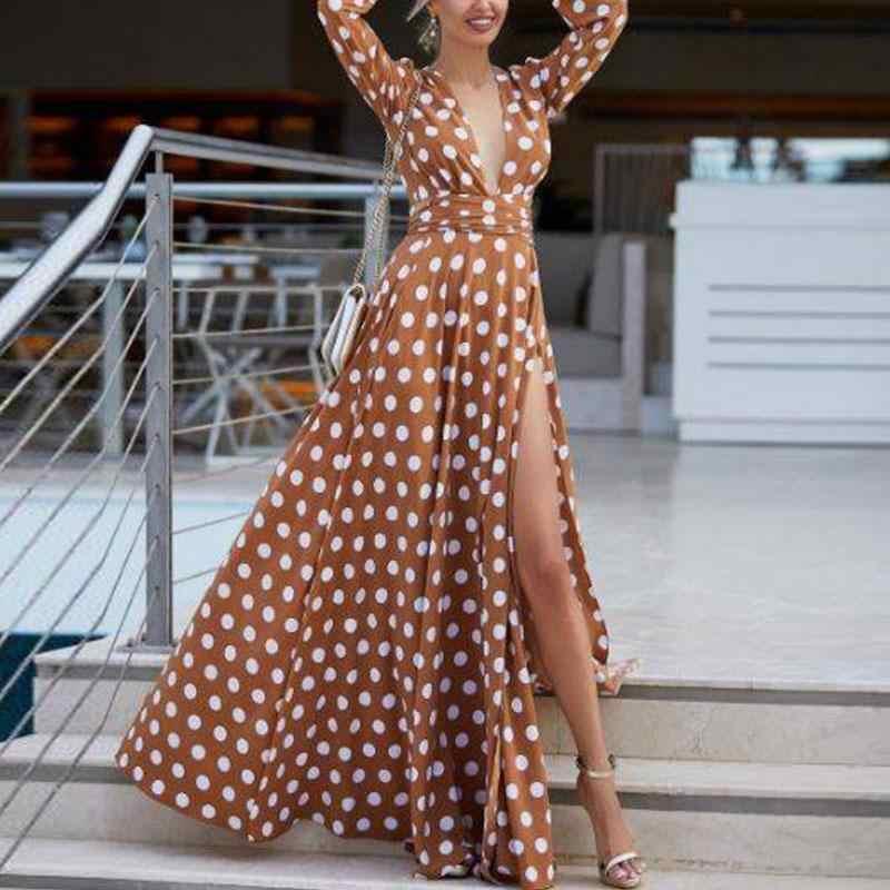 Платье в горошек красное летнее платье с длинными рукавами 2019 женские платья Бохо женские сексуальные платья с высоким разрезом Туника женское длинное платье Лето