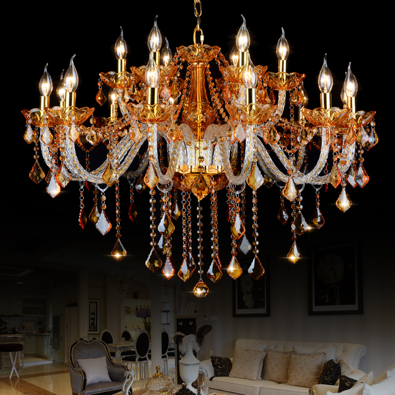 high quality amber k9 crystal chandelier lustre crystal chandeliers light lustres de cristal. Black Bedroom Furniture Sets. Home Design Ideas