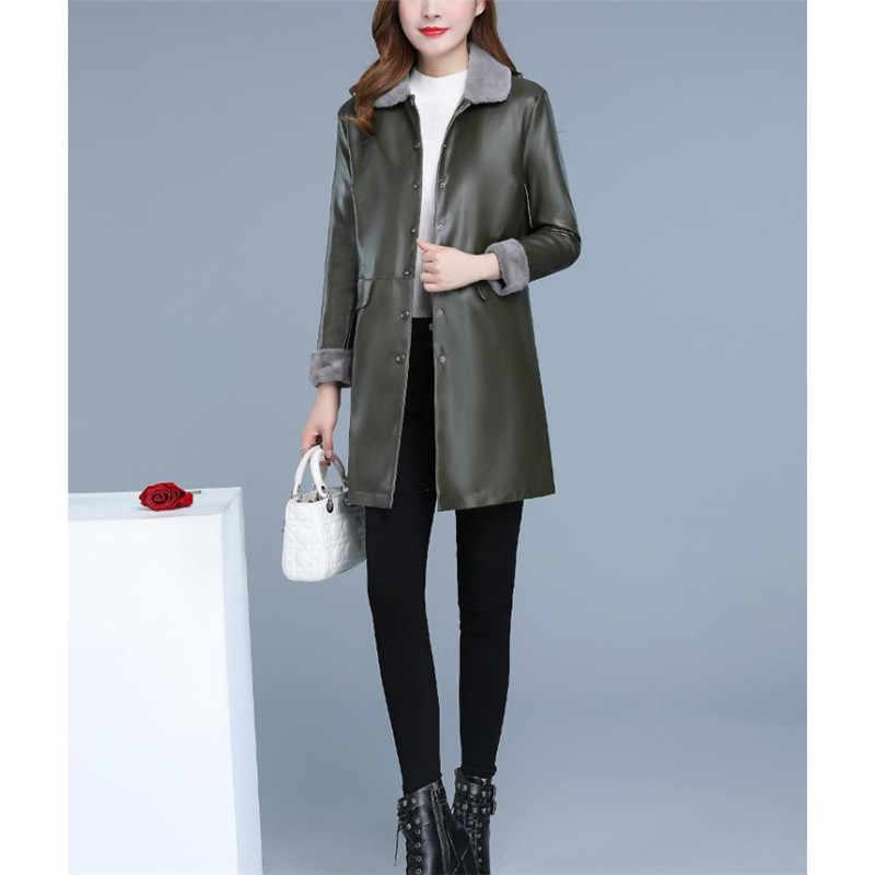 革のジャケットの女性 XL 5XL プラスサイズ 2019 の新秋冬韓国のファッションロングプラスベルベットのフェイクレザーコート LR248