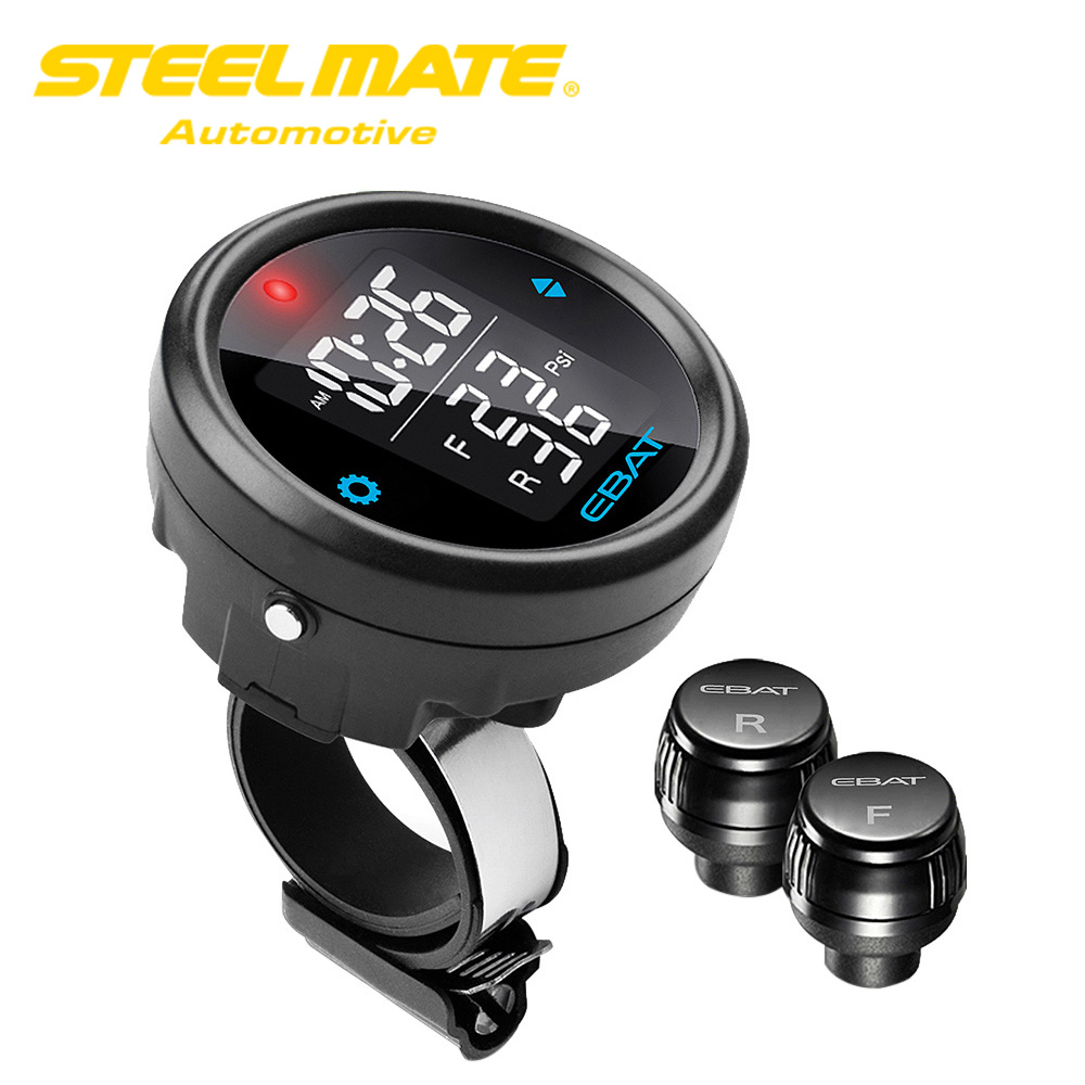 Steelmate EBAT ET 910AE TPMS Wireless Tire Pressure Monitoring System 2 sensor LCD Display for Motorcycle