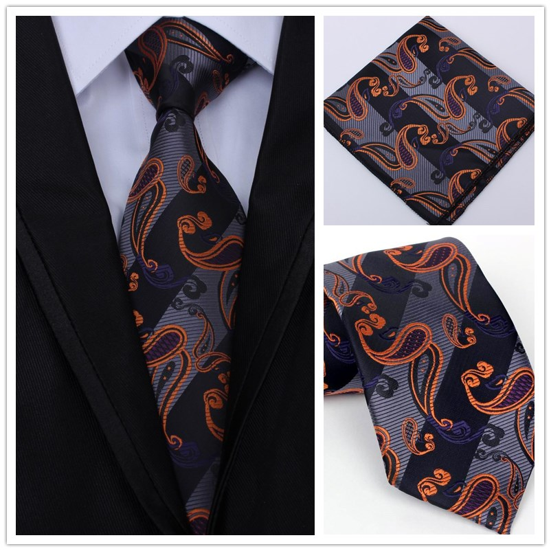 New Fashion Men Classic Tie 100% Silk Paisley Floral Woven Men Tie Neck tie Set Handkerchief Men`s Wedding Business Party ...